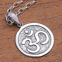 Sterling silver pendant necklace, 'Omkara Disc' - Circular Sterling Silver Om Pendant Necklace from Bali