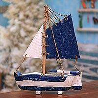 Wood decorative accent, 'Charming Sailboat' - Distressed Wood Sailboat Decorative Accent from Bali