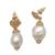 Gold plated cultured pearl dangle earrings, 'White Rose Bloom' - Floral Gold Plated Cultured Pearl Dangle Earrings from Bali (image 2a) thumbail