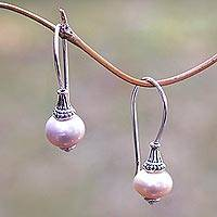 Cultured pearl drop earrings, 'Queen's Legend' - Pink Cultured Pearl Drop Earrings from Bali