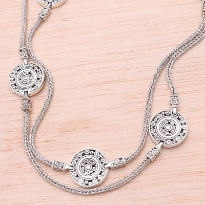 Sterling silver long station necklace, 'Buddha's Coins' - Sterling Silver Long Station Necklace from Bali