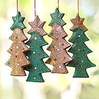 Wood ornaments, 'Sparkling Christmas Trees' (set of 4) - Sparkling Wood Christmas Tree Ornaments from Bali (Set of 4)
