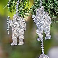 Aluminum ornament garland, 'Jolly Santa' - Handmade Aluminum Santa Ornament Garland from Bali