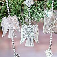 Aluminum ornament garland, 'Line of Angels' - Handmade Aluminum Angel Ornament Garland from Bali