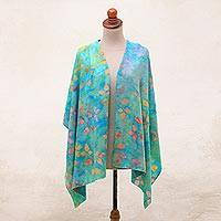 Batik rayon shawl, 'Colorful Autumn' - Leaf Motif Hand-Stamped Batik Rayon Shawl from Bali