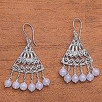 Moonstone chandelier earrings, 'Spiral Fascination' - Spiral Pattern Moonstone Chandelier Earrings from Bali