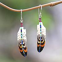 Bone and amethyst dangle earrings, 'Antique Feathers' - Hand-Painted Bone and Amethyst Feather Dangle Earrings