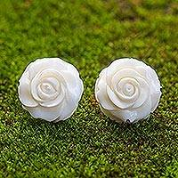 Bone button earrings, 'Fascinating Roses' - Hand-Carved Bone Rose Button Earrings from Bali