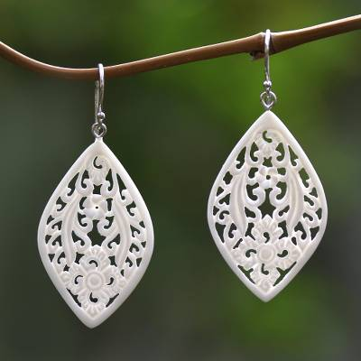Bone dangle earrings, 'Bali Windows' - Hand-Carved Floral Bone Dangle Earrings from Bali
