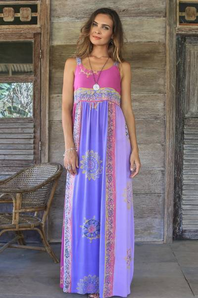 Batik rayon sundress, 'Balinese Cover' - Fuchsia and Purple Batik Rayon Sundress from Bali