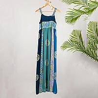 Batik rayon sundress, 'Balinese Waters' - Batik Rayon Sundress in Blue from Bali