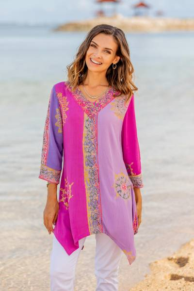 Batik rayon tunic, 'Balinese Twilight' - Fuchsia and Purple Batik Rayon Tunic from Bali
