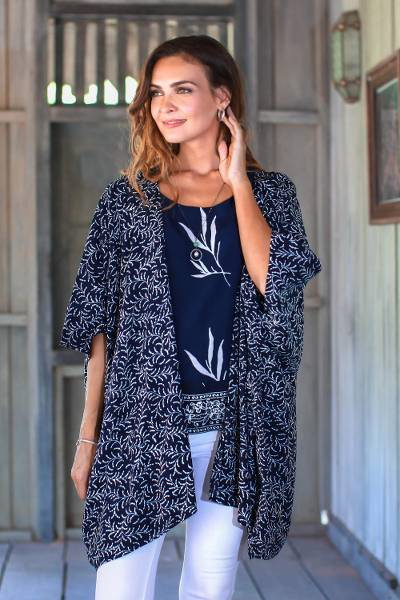 Rayon batik kimono jacket, 'Many Leaves' - Batik Rayon Kimono Jacket in Midnight and White from Bali