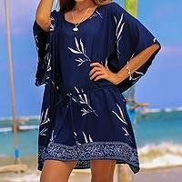 Batik rayon caftan, 'Balinese Breeze in Midnight' - Batik Rayon Caftan in Midnight and White from Bali