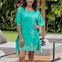 Batik rayon caftan, 'Balinese Breeze in Turquoise' - Batik Rayon caftan in Turquoise and Lemon from Bali