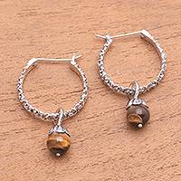 Tiger's eye hoop earrings, 'Budding Spirit' - Floral Tiger's Eye Hoop Earrings Crafted in Bali