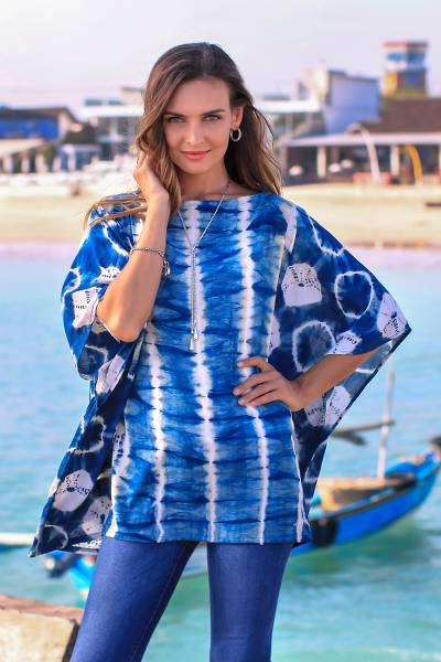 Tie-dyed rayon caftan, 'Hapsari Beauty' - Striped Tie-Dyed Rayon Caftan in Indigo from Java