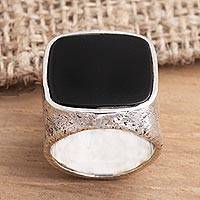 Men's onyx signet ring, 'Night Window' - Men's Square Onyx Signet Ring from Bali