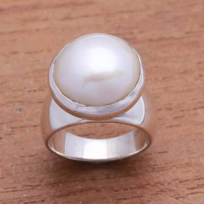 Cultured pearl cocktail ring, 'Gleaming Dome' - Gleaming Cultured Pearl Cocktail Ring from Bali