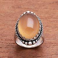 Agate single-stone ring, 'Sunny Oval' - Oval Yellow Agate Single-Stone Ring from Bali