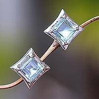 Blue topaz stud earrings, 'Elegance of Squares' - Square Blue Topaz Stud Earrings Crafted in Bali