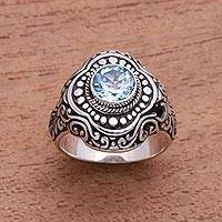 Blue topaz cocktail ring, 'Magnificent Splendor' - Blue Topaz and Sterling Silver Dot and Swirl Cocktail Ring