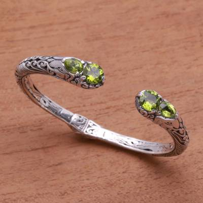Peridot cuff bracelet, Elephants Treasure