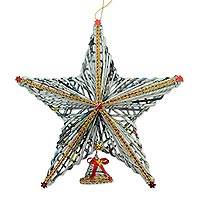 Recycled paper Christmas decoration, 'Star Above' - Recycled Paper Star Christmas Decoration from Bali
