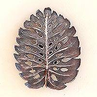 Copper wall sconce, 'Stylized Leaf' - Leaf-Shaped Copper Wall Sconce from Java