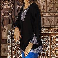 Rayon tunic, 'Kayangan in Black' - Ebony and Smoke Embroidered Rayon Tunic from Bali