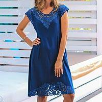 Rayon dress, 'Azure Kirana' - Embroidered Rayon Fit & Flare Dress in Azure from Bali