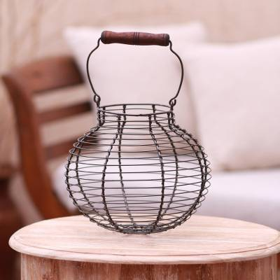 Aluminum decorative basket, 'Round Cage' - Handmade Round Aluminum Decorative Basket with Wood Handle