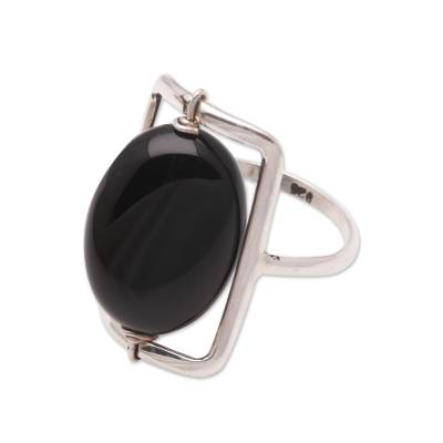 Onyx single-stone ring, 'Deep Soul' - Black Onyx Single-Stone Ring Crafted in Bali