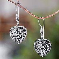 Sterling silver dangle earrings, 'Heart of Ganesha' - Heart-Shaped Sterling Silver Ganesha Dangle Earrings