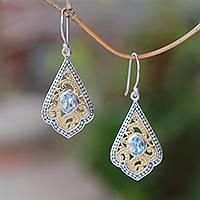 Gold accented blue topaz dangle earrings, 'Glamorous Kites' - Swirl Pattern Gold Accented Blue Topaz Dangle Earrings