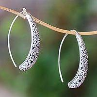 Sterling silver drop earrings, 'Vine Descent' - Vine Pattern Sterling Silver Drop Earrings from Bali