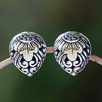 Gold accented sterling silver stud earrings, 'Royal Glam' - Vine Pattern Gold Accented Sterling Silver Stud Earrings