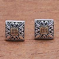Gold accented sterling silver stud earrings, 'Window Glam' - Square Gold Accented Sterling Silver Stud Earrings from Bali
