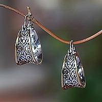 Gold accented sterling silver hoop earrings, 'Between Sunlight' - Gold Accented Sterling Silver Hoop Earrings from Bali