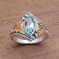 Gold accented blue topaz single-stone ring, 'Marquise Order' - Gold Accented Marquise Blue Topaz Single-Stone Ring