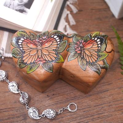 Wood puzzle box, 'Twin Butterfly Hearts' - Hand-Painted Double Heart Wood Butterfly Puzzle Box