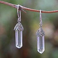 Quartz dangle earrings, 'Clear Crystals' - Floral Clear Quartz Dangle Earrings from Bali