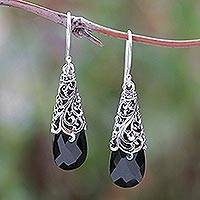 Onyx dangle earrings, 'Princess Beauty' - 5-Carat Onyx Dangle Earrings Crafted in Bali