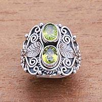 Peridot cocktail ring, 'Verdant Eyes' - Leaf Motif Peridot Cocktail Ring Crafted in Bali