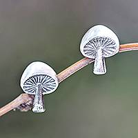 Sterling silver stud earrings, 'Gleaming Mushrooms' - Mushroom-Shaped Sterling Silver Stud Earrings from Bali