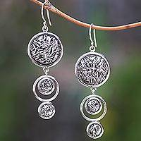 Sterling silver dangle earrings, 'Contour Circles' - Circular Contoured Sterling Silver Dangle Earrings