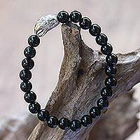 Rhodium plated onyx beaded stretch bracelet, 'Alert Eagle' - Rhodium Plated Eagle-Themed Onyx Beaded Stretch Bracelet