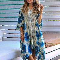 Tie-dyed rayon caftan, 'Angin Segara' - Oceanic Tie-Dyed Rayon Caftan Crafted in Java