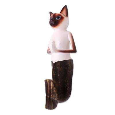 Wood wall sculpture, 'Siamese Mermaid Cat' - Hand-Painted Wood Siamese Mermaid Cat Wall Sculjpture