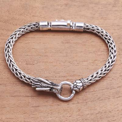 Sterling silver pendant bracelet, Clutching Ring